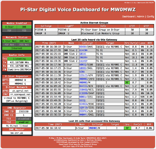 Pi-Star Screen Capture